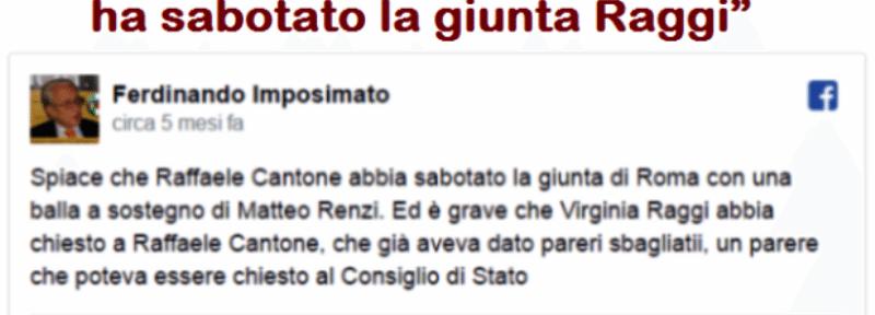 """Ferdinando Imposimato (Magistrato, e Presidente Onorario della Suprema Corte di Cassazione, giusto per ricordarvelo): """"Cantone ha sabotato la giunta Raggi per sostenere l'amico Renzi"""""""