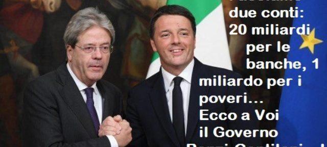 Facciamo due conti: 20 miliardi per le banche, 1 miliardo per i poveri… Ecco a Voi il Governo Renzi-Gentiloni…!