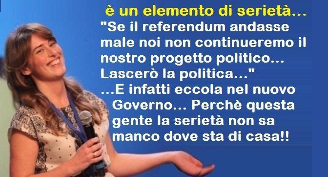 """La fatina Boschi quella che con il sorriso ammaliante prende per il culo gli Italiani – """"Se perdiamo andiamo a casa…è un elemento di serietà LASCERÒ LA POLITICA…"""" …E infatti eccola nel nuovo Governo… Perchè questa gente la serietà non sa manco dove sta di casa!!"""