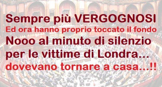"""VERGOGNOSO – Ormai hanno proprio toccato il fondo. La Boldrini, a fine seduta, annuncia un minuto di silenzio per i morti di Londra. Un boato di proteste tra i deputati: si faceva tardi per tornare a casa… E queste carogne per stare li vengono pagate (da noi) profumatamente"""""""