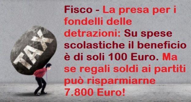 Fisco – La presa per i fondelli delle detrazioni: Su spese scolastiche il beneficio è di soli 100 Euro. Ma se regali soldi ai partiti può risparmiarne 7.800 Euro!