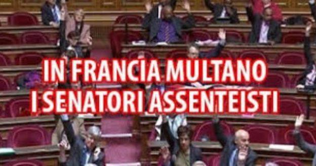Lezione di civiltà dalla Francia: ai senatori assenteisti multe fino a 4.400 euro al mese. Vorrei vedere le nostre carogne se la voterebbero una legge così!