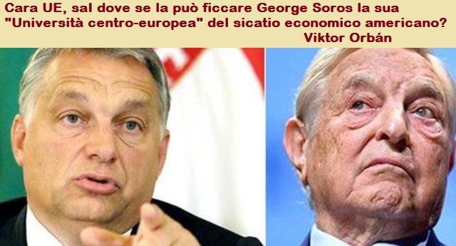 """L'Ungheria di Viktor Orbán risponde al diktat alla UE con un netto rifiuto: la legge anti-Soros non si cambia! …Perchè i loro politici non sono dei servi lecchini come i nostri. E infatti """"loro"""" si possono permettere di tagliare le tasse e aumenta gli aiuti a famiglie, scuola e sicurezza!"""