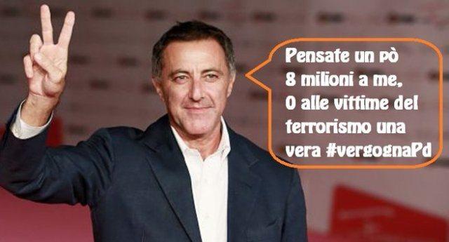 Queste sono le carogne che ci governano: per le vittime del terrorismo non ci sono fondi, Pd e FI negano 5 milioni di euro. Ma 8 milioni per il teatro di Barbareschi li hanno trovati subito. D'altra parte Barbareschi è uno di loro, uno della Casta…
