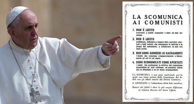 Il Vaticano studia scomunica per corruzione e per le associazioni mafiose – Insomm il Papa ce l'ha sempre con la Sinistra Italiana… una volta scomunicava i Comunisti, oggi corrotti e mafiosi!