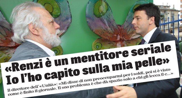 """Quando cominci a fare schifo anche a chi sta dalla tua parte qualche domanda dovresti fartela. Il direttore de l'Unità Staino """"Renzi? Un mentitore seriale. Dà spazio solo a chi gli lecca il culo"""""""