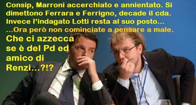 Consip, Marroni accerchiato e annientato. Si dimettono Ferrara e Ferrigno, decade il cda. Invece l'indagato Lotti resta al suo posto… Ora però non cominciate a pensare a male. Che ci azzecca se è del Pd ed amico di Renzi…?!?