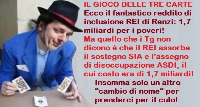"""Ecco il fantastico reddito di inclusione REI di Renzi: 1,7 miliardi per i poveri! Ma quello che i Tg non dicono è che il REI assorbe il sostegno SIA e l'assegno di disoccupazione ASDI, il cui costo era di 1,7 miliardi! Insomma solo un altro """"cambio di nome"""" per prenderci per il culo!"""