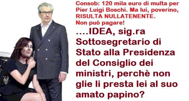 Consob: 120 mila euro di multa per Pier Luigi Boschi. Ma lui, poverino, RISULTA NULLATENENTE. Non può pagare! ….IDEA, sig.ra Sottosegretario di Stato alla Presidenza del Consiglio dei ministri, perchè non glie li presta lei al suo amato papino?