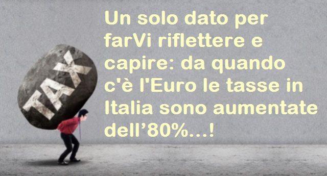 Un solo dato per farVi riflettere e capire: da quando c'è l'Euro le tasse in Italia sono aumentate dell'80%…!