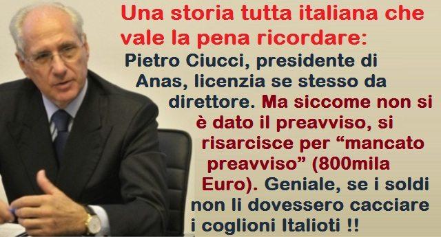 """Una storia tutta italiana che vale la pena ricordare: Pietro Ciucci, presidente di Anas, licenzia se stesso da direttore. Ma siccome non si è dato il preavviso, si risarcisce per """"mancato preavviso"""" (800mila Euro). Geniale, se i soldi non li dovessero cacciare i coglioni Italioti !!"""