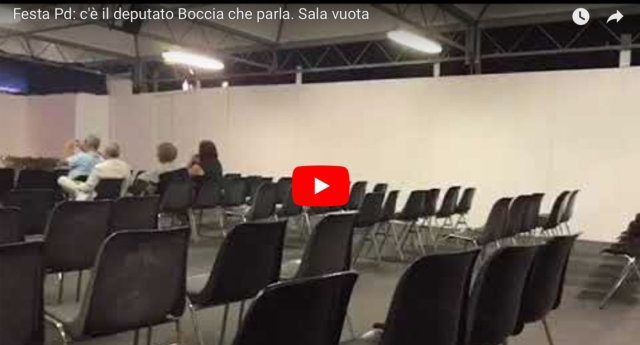 Ecco come Renzi ha ridotto il Pd – Nuovo flop alla Festa dell'Unità: ad ascoltare il deputato Boccia 13 persone …ma non tutte hanno resistito fino alla fine!