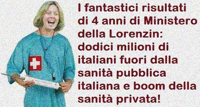 I fantastici risultati di 4 anni da Ministero della Lorenzin: dodici milioni di italiani fuori dalla sanità pubblica italiana e boom della sanità privata!