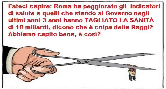 Fateci capire: Roma ha peggiorato gli  indicatori di salute e quelli che stando al Governo negli ultimi anni 3 anni hanno TAGLIATO LA SANITÀ di 10 miliardi, dicono che è colpa della Raggi? Abbiamo capito bene, è così?