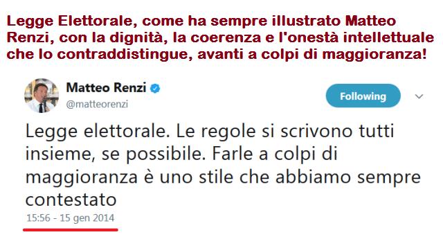Legge Elettorale, come ha sempre illustrato Matteo Renzi, con la dignità, la coerenza e l'onestà intellettuale che lo contraddistingue, avanti a colpi di maggioranza!