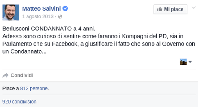 E ora siamo noi curiosi di sentire come faranno i Kamerati leghisti a giustificare il fatto di essere tanto fessi da credere ancora a Salvini che oltre ad allearsi con Silvio, per compiacerlo traditrice i suoi elettori votando a favore dei migranti economici in Italia!