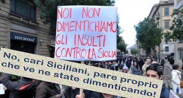 """""""Noi non dimentichiamo gli insulti contro la Sicilia"""" – No, cari Siciliani, pare proprio che ve ne state dimenticando. Vi rinfreschiamo la memoria: 25 anni di insulti leghisti contro il Sud."""