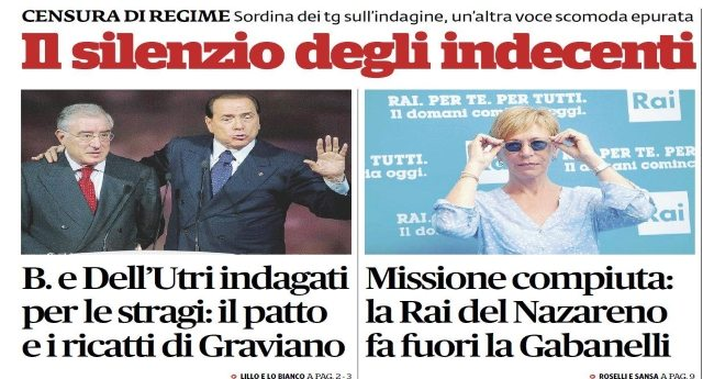 IL SILENZIO DEGLI INDECENTI! Berlusconi di nuovo sotto inchiesta per Mafia. La Gabanelli un'altra voce scomoda fatta finalmente fuori dalla Rai. Renzi insultato ad ogni fermata del suo treno. Ma i Tg MUTI…!!!!!!!
