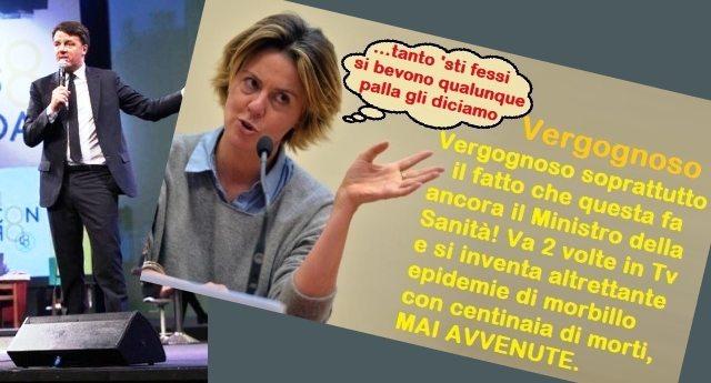 """Renzi apre la Leopolda: """"Ci attaccano con le fake news"""" …Bravo Matteo, ora raccontaci del tuo Min. Lorenzin che per 2 volte in Tv, per fare """"pubblicità"""" ai suoi """"cari"""" vaccini, si è INVENTATA 2 INESISTENTI EPIDEMIE DI MORBILLO CON 270 E 200 MORTI…!"""