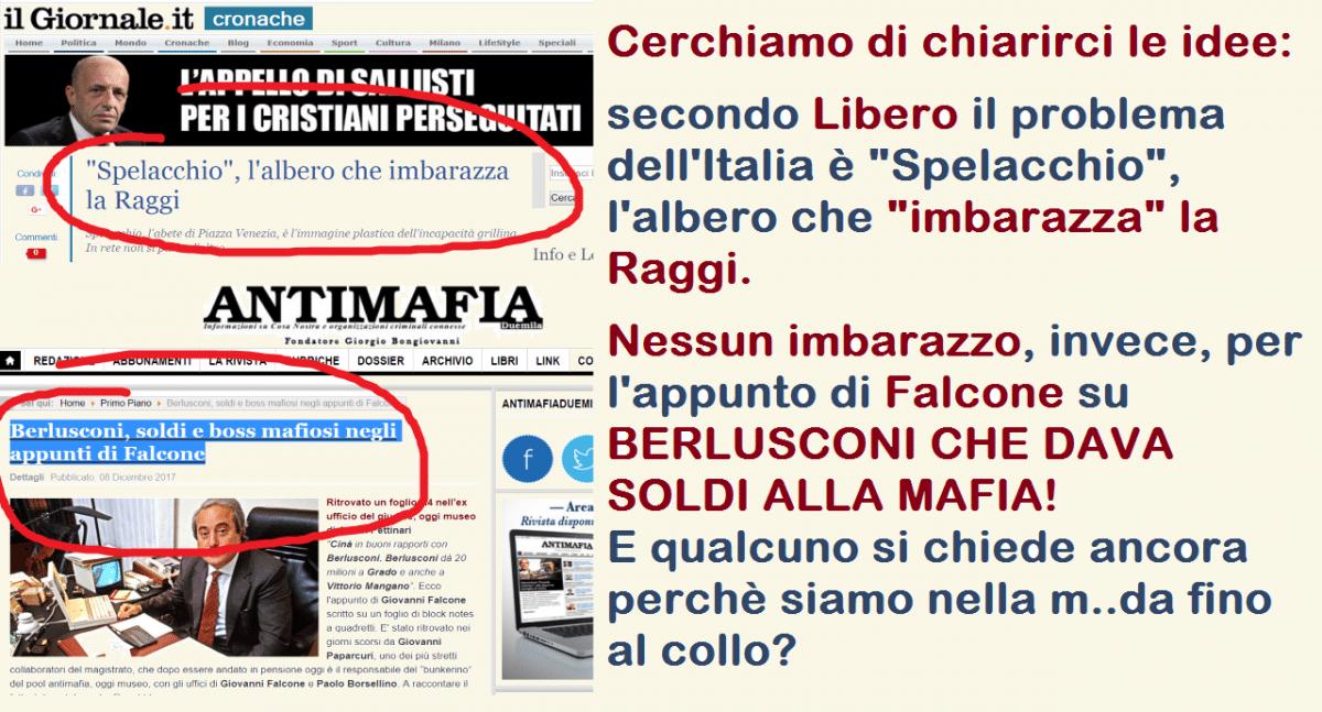 """Cerchiamo di chiarirci le idee: secondo Libero il problema dell'Italia è """"Spelacchio"""", l'albero che """"imbarazza"""" la Raggi. Nessun imbarazzo, invece, per l'appunto di Falcone su BERLUSCONI CHE DAVA SOLDI ALLA MAFIA! E qualcuno si chiede ancora perchè siamo nella m..da fino al collo?"""
