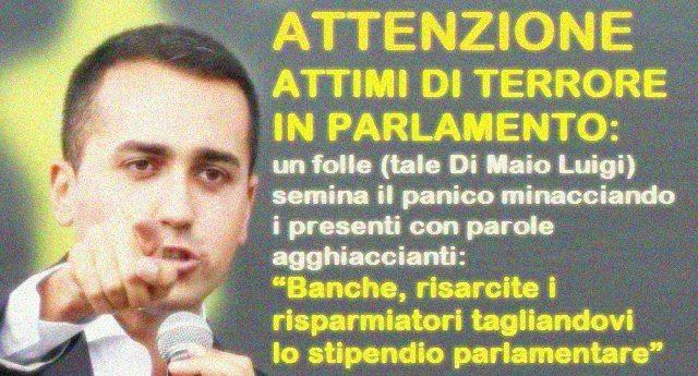 Risultati immagini per Di Maio va in banca a Montecitorio con l'inviato delle Iene.