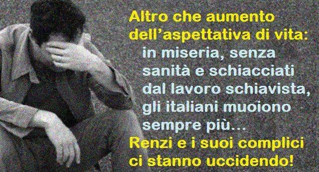 Altro che aumento dell'aspettativa di vita: in miseria, senza sanità e schiacciati dal lavoro schiavista, gli italiani muoiono sempre più. Renzi e i suoi complici ci stanno uccidendo!