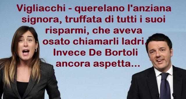 Il PD querela l'anziana signora, truffata di tutti i suoi risparmi, che aveva osato contestare Renzi. Invece De Bortoli ancora aspetta …Ma a me questa gente non fa proprio schifo. Mi fa schifo chi ancora li intende votare!