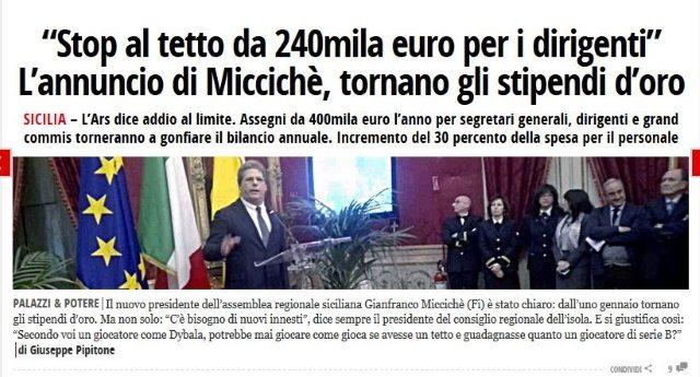 I primi fantastici risultati della vittoria del centrodestra in Sicilia: Stop al tetto da 240mila euro per i dirigenti, tornano gli stipendi d'oro…