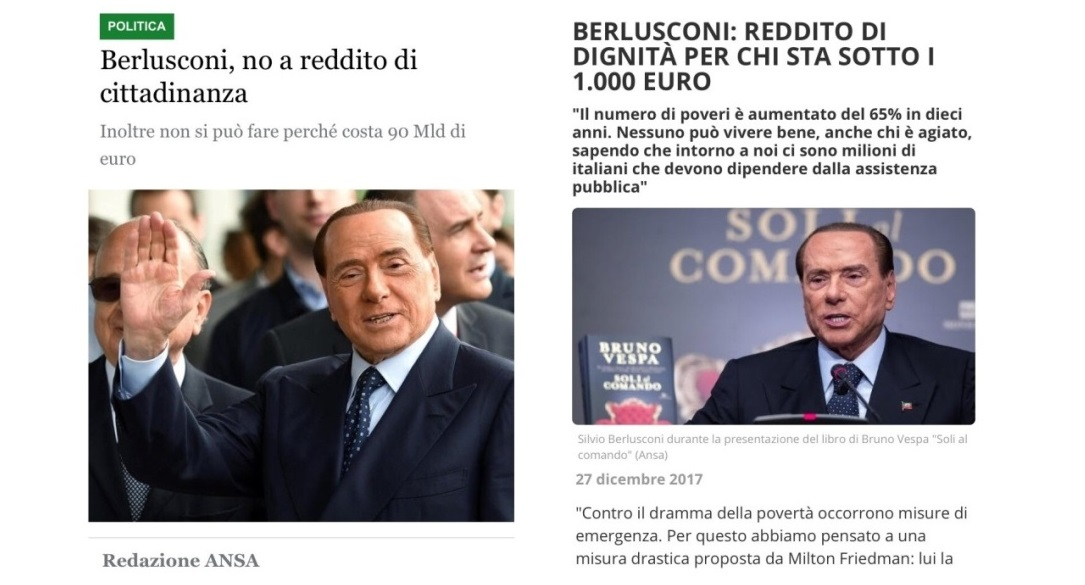 Berlusconi, NO al reddito di cittadinanza… ma per prendere per i fondelli i suoi elettori, basta cambiare una parola…!