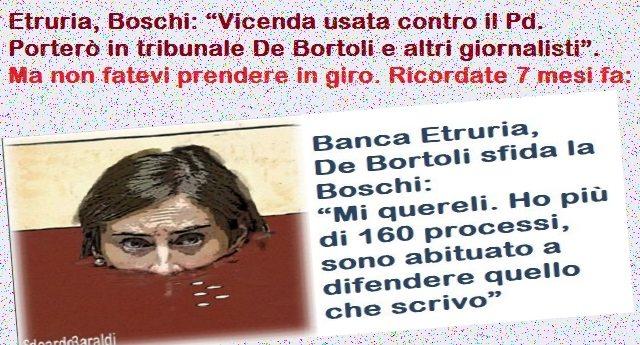 """La Boschi minaccia: """"Vicenda usata contro il Pd. Porterò in tribunale De Bortoli e altri giornalisti"""" – Qualcuno le ricordi che già 7 mesi fa De Bortoli l'aveva sfidata: """"Mi quereli. Ho più di 160 processi, sono abituato a difendere quello che scrivo""""…!"""