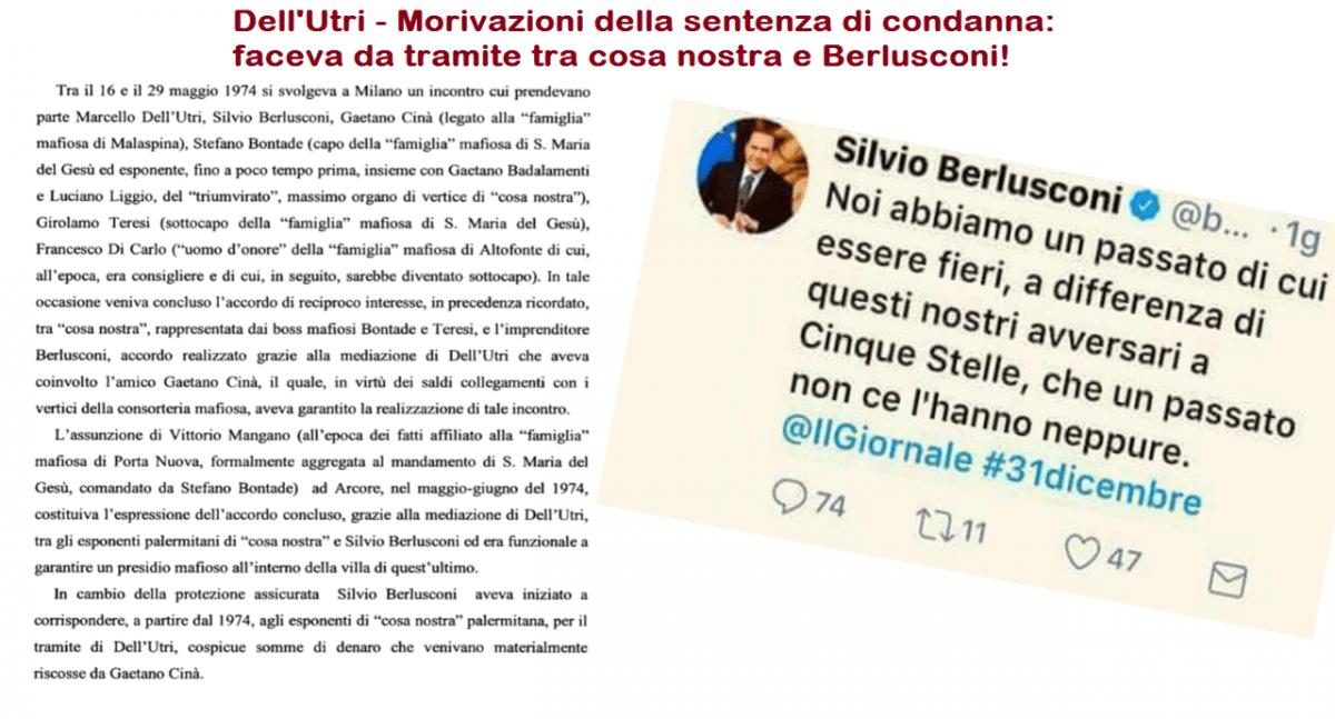 """Berlusconi contro i Cinquestelle: """"Noi abbiamo un passato di cui essere fieri"""" – Sì, è vero, e si chiama MAFIA…!"""