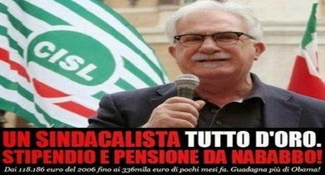 """A VOLTE RITORNANO: eccolo Raffaele Bonanni quello che, dopo aver preso per i fondelli i lavoratori intascando stipendi da far impallidire Obama ed aver messo al sicuro una favolosa pensionato d'oro, ora bussa alla porta del """"nemico"""" Berlusconi per un posto in Parlamento!"""
