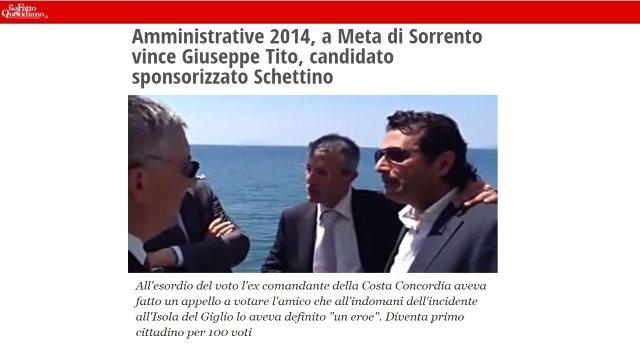 Tanto per farvi capire: Schettino ha fatto campagna per il Pd. De Falco si candida coi 5stelle… Ora scegliete voi da che parte stare…