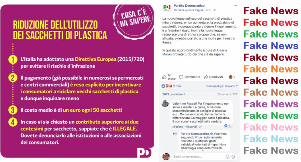 """Sacchetti ortofrutta – Ancora Fake News del Pd a firma di Alessia Morani: """"Se costa oltre 2 cent è illegale"""" e…"""
