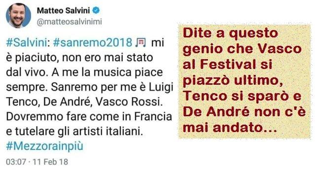 Caro Matteo, solo per ricordarti che Vasco al Festival si piazzò ultimo, Tenco si sparò e De André non c'è mai andato…