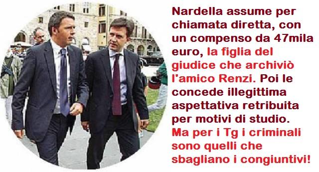 Nardella assume per chiamata diretta, con un compenso da 47mila euro, la figlia del giudice che archiviò l'amico Renzi. Poi le concede illegittima aspettativa retribuita per motivi di studio. Ma per i Tg i criminali sono quelli che sbagliano i congiuntivi!