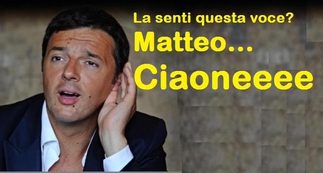 Ricapitoliamo: In Tv si discute se Renzi si deve dimettere… Molto pacatamente, riteniamo che uno che ha ereditato un partito di sinistra (il Pd) al 40% e lo ha trasformato in un partito di destra Al 17% non si deve dimettere, si deve togliere dai coglioni! MATTEO, CIAONEEEE…!!