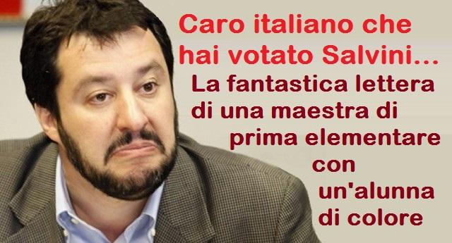 Caro italiano che hai votato Salvini – La fantastica lettera di una maestra di prima elementare con un'alunna di colore