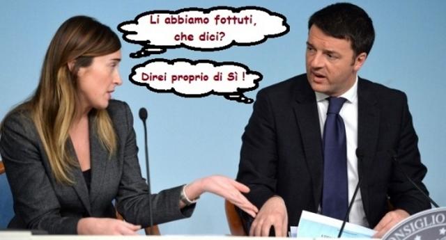 Rifletteteci. Al Pd di Renzi non è bastato distruggere il Paese. Hanno sparso sale come gli Unni di Attila, facendo passare, con ben otto voti di fiducia, l'attuale legge elettorale affinchè dopo il loro schifo, l'Italia rimanesse ingovernabile. Rendetevi conto, sono solo degli sporchi criminali.