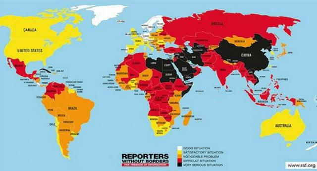 Libertà di stampa: Italia 46ma al mondo… Come avete potuto sentire da tutti i tg…