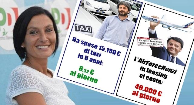 """Il Pd è quel dove una come la Morani si straccia le vesti perché Fico spende ben 8 Euro al giorno di Taxi, ma scodinzola intorno a Renzi che si è """"regalato"""", a spese della Gente, un aereo che costa 40.000 Euro al giorno…!"""