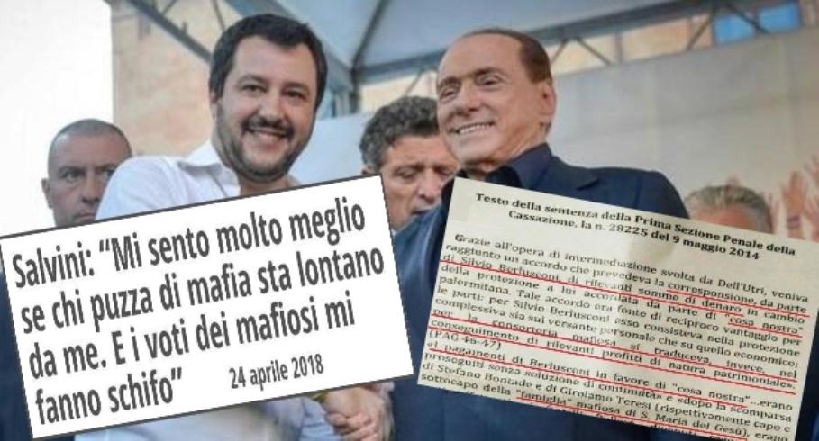 """Salvini: """"Mi sento molto meglio se chi puzza di mafia sta lontano da me. E i voti dei mafiosi mi fanno schifo"""" …Ora la domanda nasce spontanea: ma cos'è che questo deficiente non ha capito della sentenza di condanna di dell'Utri?"""