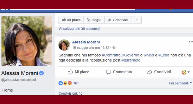 """La Morani critica il contratto M5s-Lega """"neanche una riga per ricostruzione post terremoto"""". Ma poi leggi che a L'Aquila, NESSUNA SCUOLA È STATA RICOSTRUITA, ti rendi conto che nel frattempo hanno governato loro e capisci cosa è la FECCIA della politica italiana!"""