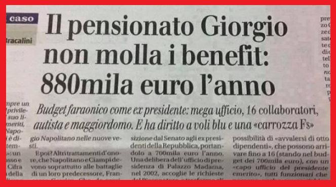 Accadde Oggi – Il 15 maggio di 13 anni fa Giorgio Napolitano inizia il mandato come 11° Presidente della Repubblica Italiana – Sì Napolitano, quello che lanciava moniti e firmava qualunque porcata e che ora non molla i suoi privilegi: 880.000 Euro l'anno solo di pensione!!