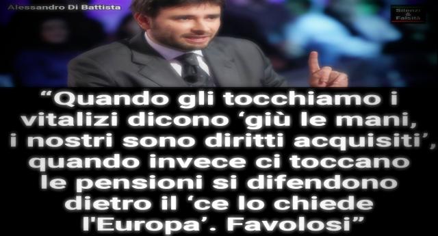 """Taglio dei Vitalizi? – Di Battista: """"Quando lo proposi io la Boldrini mi cacciò dalla Camera""""…!"""