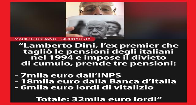 """La proposta di Mario Giordano: """"E se tagliassimo la pensione d'oro di Lamberto Dini?"""" …ricordiamo che è quello che ha tagliato le pensioni alla Gente imponendo il divieto di cumulo. Però Lui non si è tagliato niente e ne cumula 3 per un totale di 32.000 Euro…!"""