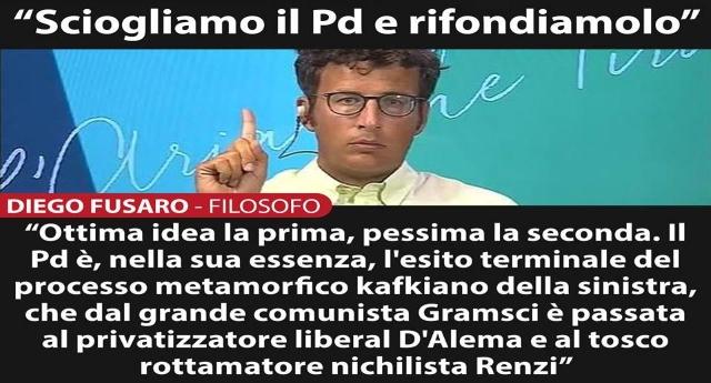 """Diego Fusaro: """"Orfini vuole sciogliere e rifondare il Pd? Prima idea ottima, seconda pessima"""""""