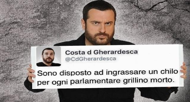 """Certe porcherie non vanno dimenticate – Ecco chi è Costantino della Gherardesca: """"Sono disposto a ingrassare un chilo per ogni Parlamentare Grillino morto""""…! …E quando questo va a fare il pagliaccio in Tv lo paghiamo noi!"""