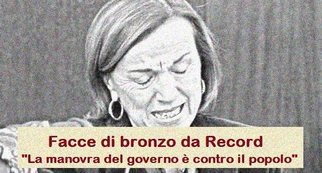 """Per la serie """"Facce di bronzo da Record"""" – Elsa Fornero contro il governo: """"Manovra contro il popolo"""" …Sì, lo ha detto proprio la Fornero, quella che ha buttato in mezzo alla strada 200.000 persone e ci ha tolto la speranza di andare in pensione…"""