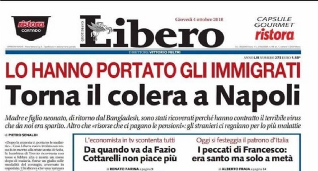 """Vergognoso titolo bufala di Libero: """"Torna il colera a Napoli. Lo hanno portato gli immigrati"""" – D'altra parte questo succede quando recluti i giornalisti tra quelli che scrivono sui muri dei cessi degli Autogrill…"""